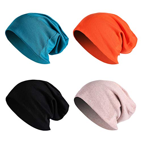 JOYEBUY 4 Pack Women Men Stylish Cotton Beanie Cap Slouchy Beanies Hats Soft Sleep Cap (Style A)