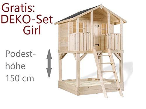 Scheffer Outdoor-Toys Stelzenhaus Tobi XXL Premium, Podesthöhe 1,50 m - 9 x 9 cm Stützen , Rutsche wählen Blaue Rutsche, Sicherheit wählen 4X Bodenanker Ohne Rutsche 4x Bodenanker
