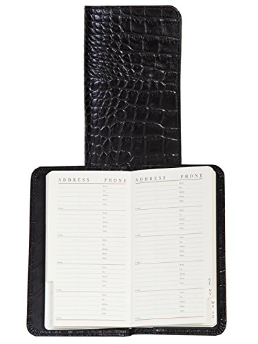 Croco Pocket - Scully Croco Embossed Leather Pocket Telephone / Address Book (Croco Black)