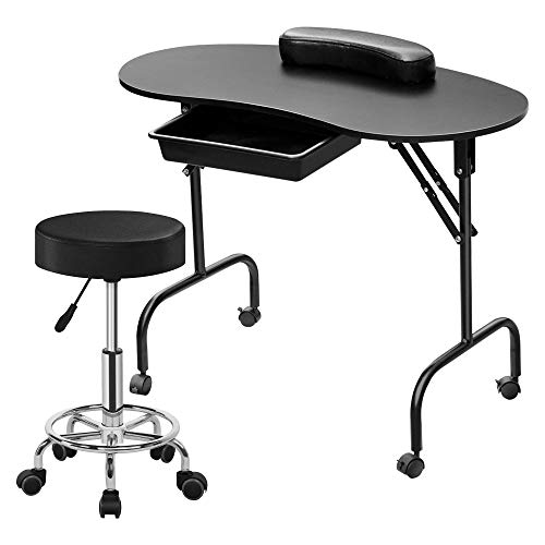 Yaheetech 37-inch Black Foldable Manicure Nail Table Station Desk with Client Wrist Pad and Carrying Case and Rolling Adjustable Stool Swivel Salon Stool Chair