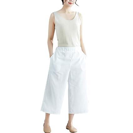 Amazon.com: Lanhui - Pantalones para mujer de lino y algodón ...