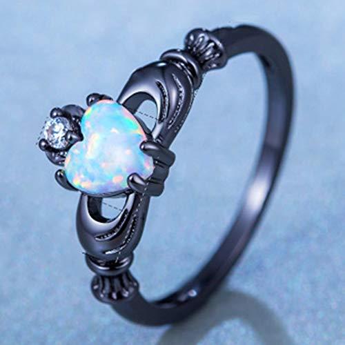 (Charming Heart Shape Fire Opal Rings | Wedding Band Vintage Black Gold Filled White Zircon Ring | for Women )