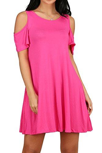 Women Summer Chiffon Loose Dress Red XL - 3