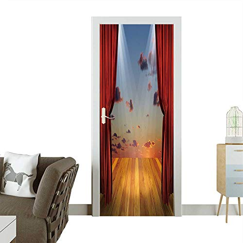 Homesonne 3D Door Decals Theater Stage with red Curtains and spotlights on The Stage Wooden Floor Self Adhesive Door Decal W36 x H79 -