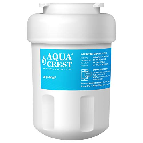 AQUACREST MWF NSF 53&42 Certified Refrigerator Water Filter, Compatible with GE MWF, SmartWater, MWFP, MWFA, GWF, HDX FMG-1, WFC1201, GSE25GSHECSS, PC75009, RWF1060, 197D6321P006