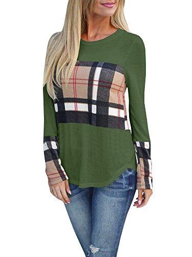 id Tops Long Sleeve Casual Patchwork Fashion Tunic Blouses ()