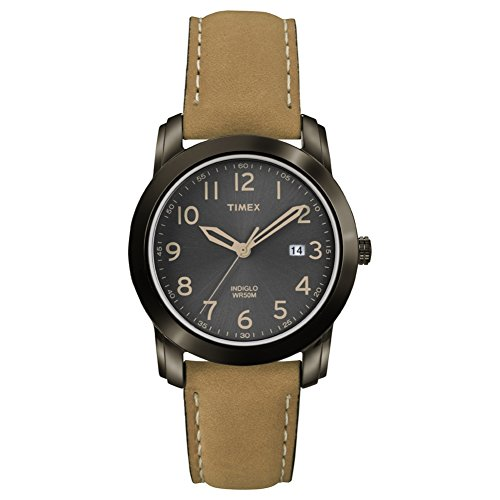 Timex Men's Quartz Watch with Analogue Display and Leather Strap