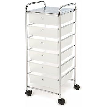 Seville Classics Large 6-Drawer Storage Bin Organizer Cart, Frosted White