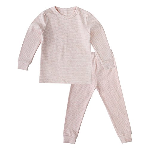 Enfants Chéris Toddler Boys Girls Jammies Stripes Organic Cotton Pajamas, (Pink, 24M)