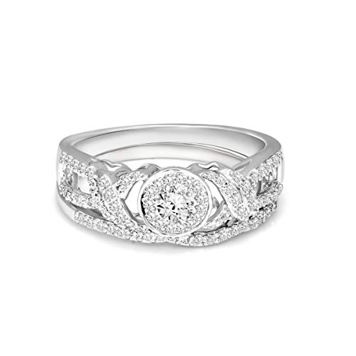 (Halo Diamond Ring 1/2 Carat IGI Certified Diamond Engagement Rings For Women Lab Grown Diamond Rings 925 Silver Diamond Ring silver Real Diamond Rings for Women SI-GH Quality Diamond Ring)