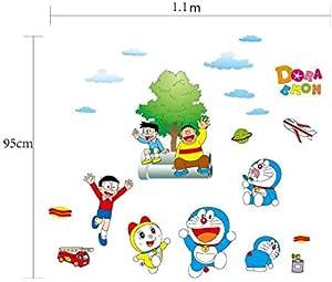 Doraemon Children Room Wallpapers Kindergartens Cartoon Wall Stickers