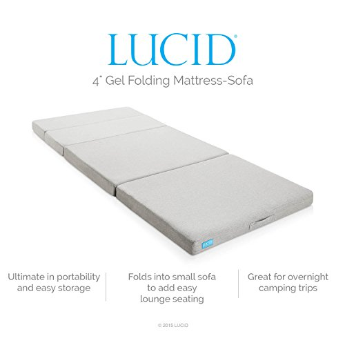 LUCID 4 Inch Folding Mattress and Sofa with Removable Indoor / Outdoor...