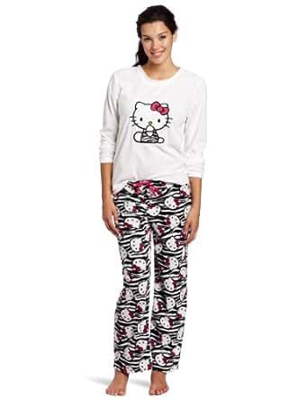 Hello Kitty Juniors Print Pajama Set with Ribbon, White/Black, Small