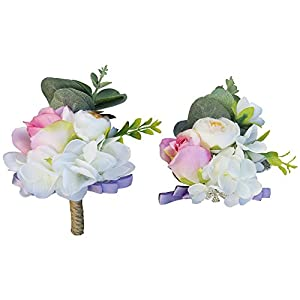 Abbie Home Lavender Rose Wedding Bouquet - White Rose Peony Bridal Holding Flower with Lace Bow tie Decoration for Garden Wedding (Set 617) 1