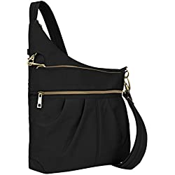 Travelon Anti-Theft Signature 3 Compartment Crossbody, Black, Straight Pocket