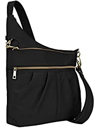 Anti-Theft Signature 3 Compartment Crossbody, Black, Straight Pocket