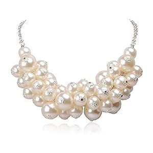 Jane Stone Fashion Statement Bib Sliver Tone Chain Beads Necklace Wedding White Jewelry