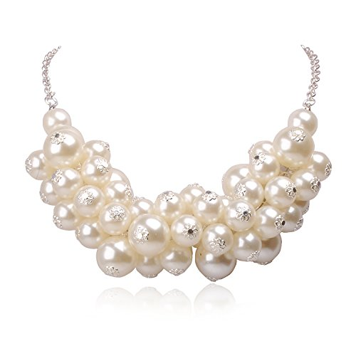 Jane Stone Fashion Statement Bib Sliver Tone Chain Beads Necklace Wedding White Jewelry (Pearl Stone)