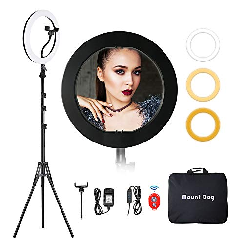 """MountDog Ring Light: 14"""" 3 Color Lights 5600K Dimmable LED Ring Light Kit with Stand, Wireless Remote, Phone Holder and Carrying Bag for Makeup Smartphone YouTube Self-Portrait Shooting 1"""