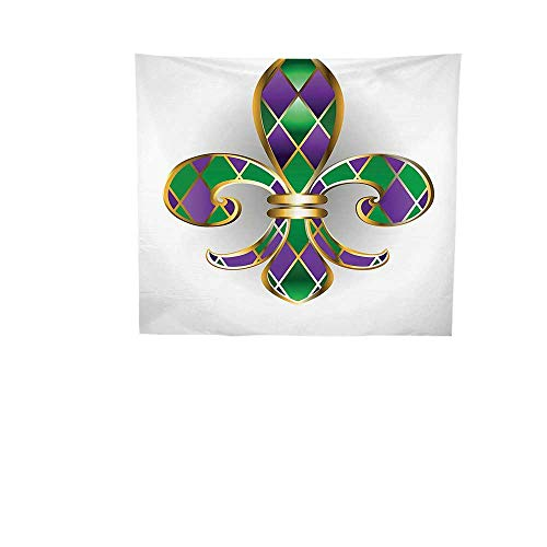 Home Decor Tapestry 27W x 27W Inch Wall Hanging Bedroom Living Room DormFleur De Lis Decor Gold Jewelry Lily Decorated Diamond Shapes Royalty Ancient Artwork Gold Purple Green.