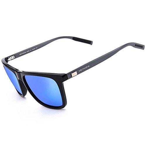 VEITHDIA 6108 Al-Mg Metal Frame Polarized Retro Wayfarer Sunglasses (Black Frame/Blue Lens, - Online Sunglasses Polaroid