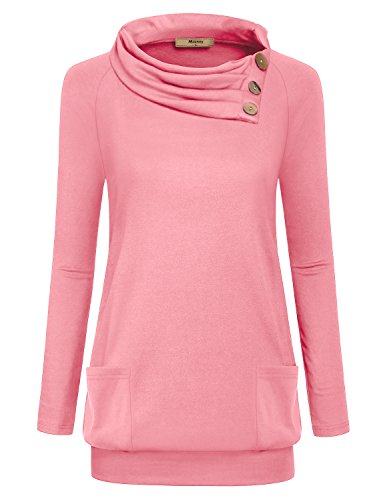 Miusey Pullover Sweatshirts Women, Girls Pink Cute Slim Fit Collared Cowl Neck Long Sleeve Sweater Cotton Knit Petite Tops Casual Shirt Varsity Thermal Banded Pleated Blouses Tunic with Pockets M