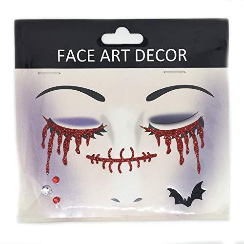 Halloween sticker QIFUD Horror Cara Rosa Brillante Mascarada ...