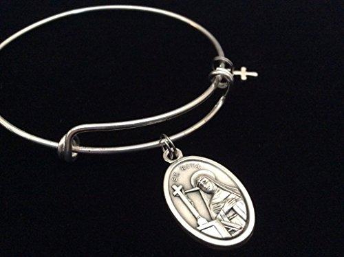 Patron Saint of the Impossible St. Rita Silver Expandable Charm Bracelet