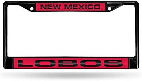 New Mexico Lobos NCAA Rico Industries  Laser Cut Inlaid Standard Chrome License Plate Frame