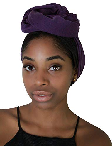 Wrap Hair Accessory (Rayna Josephine Stretch Headwrap -Long Solid Color Jersey Knit Headwrap Turban Hair Scarf Tie (Royal Purple))