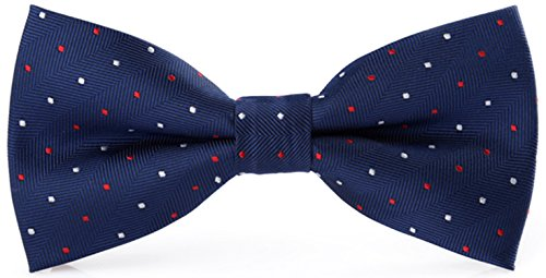 Flairs New York Polka Dots Collection Bow Tie (Prussian Blue / Red / White [Mini Polka Dots])