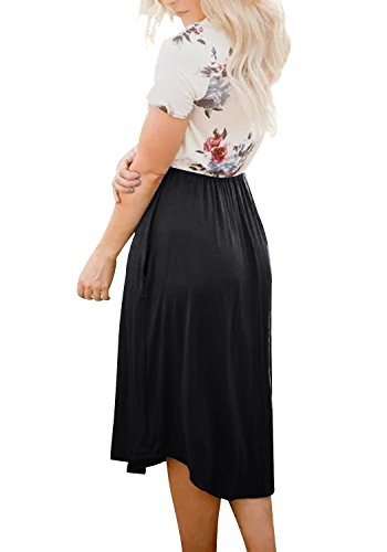 Aitos Z Mini Robe noir Causal Trapze Robe Plage Femme Sans Bretelles d't Robe Courte Robe Boho Imprim de Manche r4TqErw5