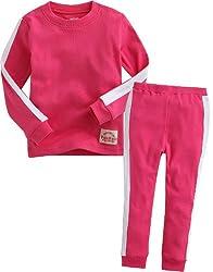 Vaenait Baby 12M-7T Kids Girls Sleepwear Pajama 2pcs Set Bruce Lee Hotpink XS