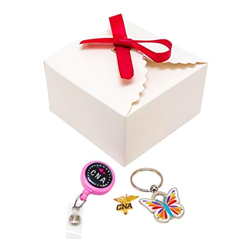 (CNA Certified Nursing Assistant Gifts Set Bundle 3 Items. Lapel Pin Retractable ID Badge Holder Reel and Keychain. Gift Wrap Included.)