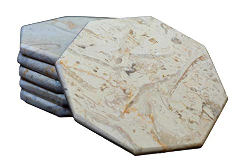 Set of 6 - Beige Marble Stone Coasters Polished Coasters 3.5 Inches (9 cm) in Diameter Protection from Drink Rings -CraftsOfEgypt