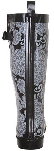 Pluie Mesdames Noir De Floral New Cheveux Caoutchouc Lace York Combo Haute Imprimé Bottes wfnCnqT8Bx