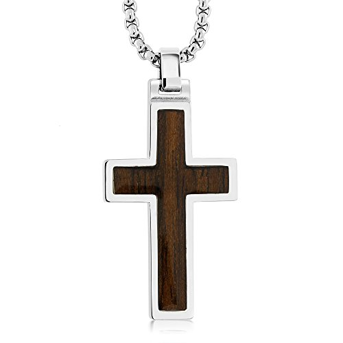 Wood Inlay (Dark Walnut) Tungsten Carbide Cross Pendant ON 3MM Stainless Steel Box Chain Necklace