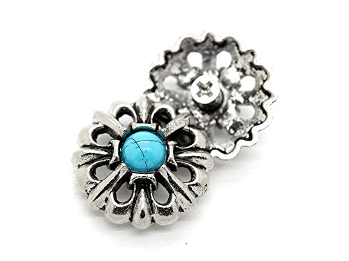 (CRAFTMEmore Decorative Concho Turquoise Flower Cross Wallet Indian Screw Back Buttons Leather Craft 1 Inch 2 PCS (Silver))