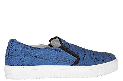 Armani Jeans Herren Mokassins Slip On Sneakers blu