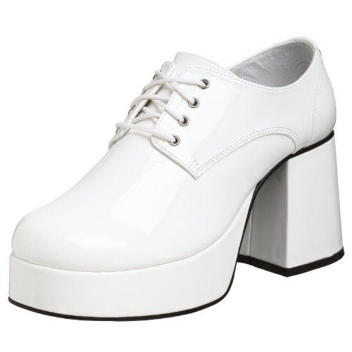 02 (Small 8-9, (White)) Mens Patent Platform Disco Shoes