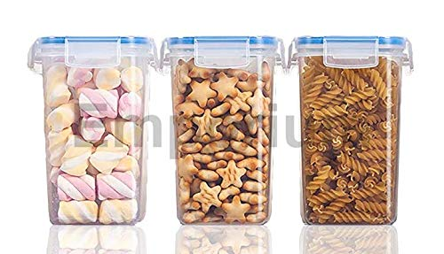 EMPORIUM Plastic Airtight Jars With Lid Set – 1500ml, 3Pc Set, Transparent
