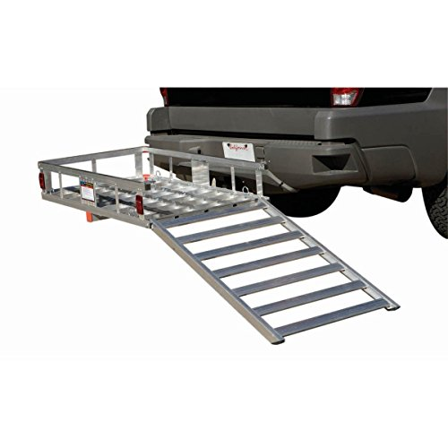 500 lb. Capacity Hitch Mount Aluminum Mobility Wheelchair & Scooter Trailer Ramp