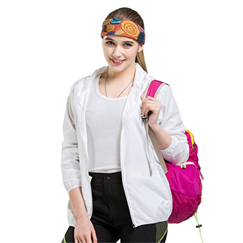 SANKE Mujer Super ligero chaqueta de viaje al aire libre de protección solar de la piel Blanco