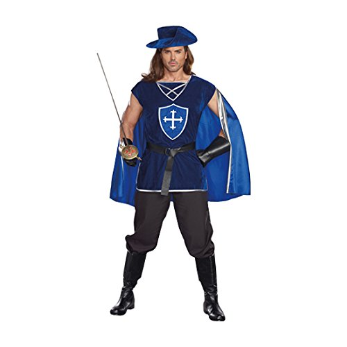 Dreamgirl Men's Mighty Musketeer , Blue, (Musketeer Costume Men)