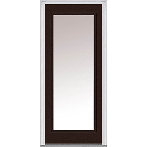 National Door Company Z011688L Fiberglass Smooth Polished Mahogany, Left Hand In-swing, Prehung Front Door, Full Lite, Clear Glass, 30