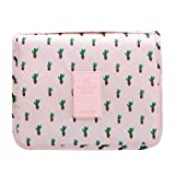 CalorMixs Hanging Toiletry Bag, Travel Organizer Cosmetic Wash Make Up Bag Case for Women Men Toiletry Kit Cosmetic Bag Travel Accessories, Pink Cactus