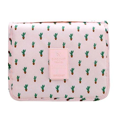 CalorMixs Hanging Toiletry Bag, Travel Organizer Cosmetic Wash Make Up Bag Case for Women Men Toiletry Kit Cosmetic Bag Travel Accessories, Pink Cactus