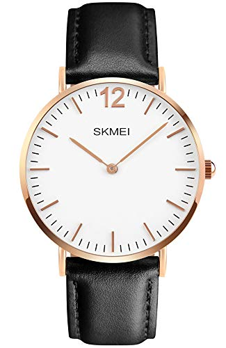 (PASOY Fashion Men's Quartz Watch Rose Gold Ultra Thin Case Waterproof Black Leather Strap Sports Analog Casual Watches (Black Leather Strap/Rose case/White dial))