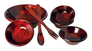 Wooden Salad Bowl Set, 7-Peice, Mahogany