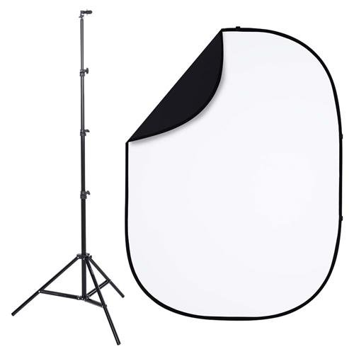 Interfit PB201K Studio Essentials Collapsible - KIT - 5' x 6.5' Pop-Up Reversible Background with Stand & Clip, -